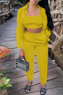 Yellow Casual Solid Split Joint Strapless Long Sleeve Two Pieces