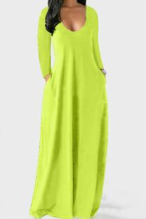 Fluorescent Green Casual Solid Split Joint V Neck Straight Dresses