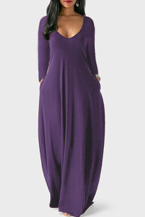 Purple Casual Solid Split Joint V Neck Straight Dresses
