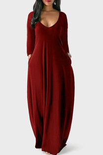 Burgundy Casual Solid Split Joint V Neck Straight Dresses