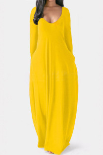 Yellow Casual Solid Split Joint V Neck Straight Dresses