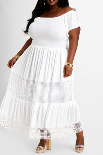 White Fashion Casual Plus Size Solid Backless Off the Shoulder Short Sleeve Dress