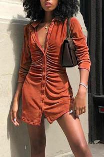 Tangerine Red Casual Solid Split Joint Buckle Turndown Collar Shirt Dress Dresses