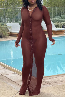 Brown Sexy Solid See-through Mesh Swimwears Cover Up