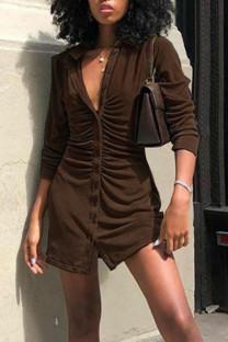 Coffee Casual Solid Split Joint Buckle Turndown Collar Shirt Dress Dresses