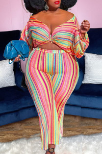 Multicolor Sexy Striped Print Split Joint V Neck Plus Size Two Pieces