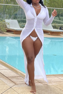 White Sexy Solid See-through Mesh Swimwears Cover Up
