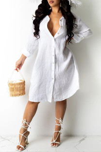 White Sexy Solid Asymmetrical Turndown Collar Shirt Dress Dresses (Without Belt)