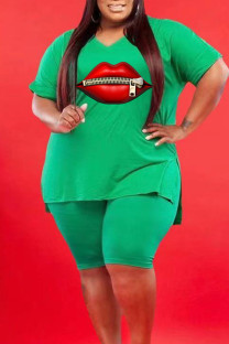 Green Casual Print Split Joint Slit V Neck Plus Size Two Pieces