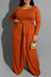 Orange Casual Solid With Belt O Neck Plus Size Two Pieces