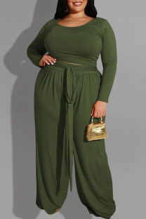 Army Green Casual Solid With Belt O Neck Plus Size Two Pieces