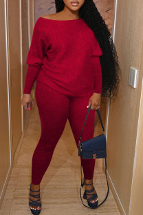 Red Casual Solid Split Joint O Neck Long Sleeve Two Pieces
