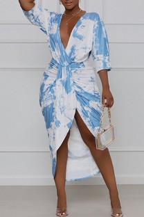 Light Blue Elegant Print Tie Dye Split Joint Fold Asymmetrical V Neck Straight Dresses