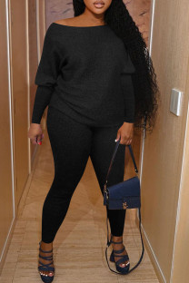 Black Casual Solid Split Joint O Neck Long Sleeve Two Pieces