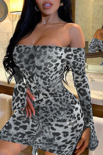 Grey Sexy Print Split Joint Draw String Fold Off the Shoulder Pencil Skirt Dresses