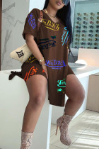 Coffee Casual Letter Print Split Joint Slit V Neck Short Sleeve Two Pieces