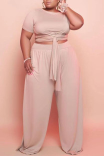 Apricot Casual Solid Bandage Split Joint O Neck Plus Size Two Pieces