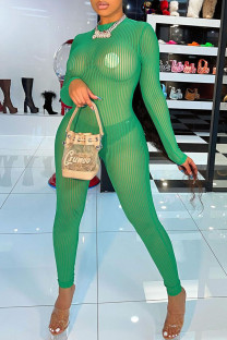 Green Sexy Solid Split Joint See-through O Neck Skinny Jumpsuits