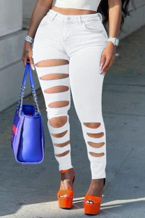 White Fashion Casual Solid Ripped Plus Size Jeans