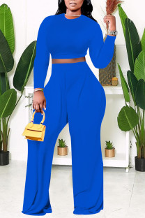 Blue Casual Solid Split Joint O Neck Plus Size Two Pieces