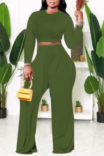 Green Casual Solid Split Joint O Neck Plus Size Two Pieces