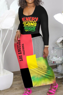 Red Yellow Casual Print Split Joint U Neck Long Sleeve Dresses