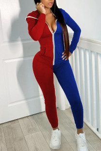 Red Blue Casual Solid Split Joint  Contrast Zipper Hooded Collar Skinny Jumpsuits