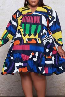 Colour Casual Print Split Joint Flounce V Neck Long Sleeve Plus Size Dresses