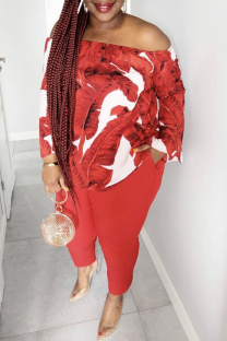 Red Casual Patchwork Tie-dye Off the Shoulder Plus Size Two Pieces