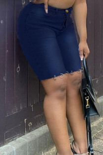 Deep Blue Fashion Casual Solid Basic High Waist Regular Jeans