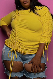 Yellow Fashion Casual Solid Draw String O Neck Plus Size Tops