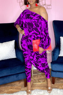Purple Fashion Casual Print Asymmetrical Oblique Collar Three Quarter Two Pieces