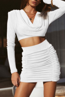 White Celebrities Solid Split Joint Fold V Neck Long Sleeve Two Pieces