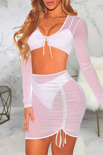 White Sexy Solid Split Joint Draw String Fold U Neck Long Sleeve Two Pieces