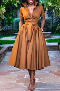 Tangerine Casual Solid Split Joint Buttons Turndown Collar Shirt Dress Dresses