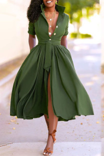 Army Green Casual Solid Split Joint Buttons Turndown Collar Shirt Dress Dresses