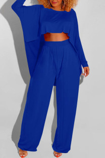 Blue Casual Solid Split Joint Asymmetrical O Neck Long Sleeve Two Pieces