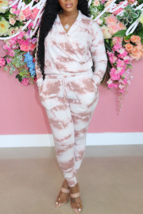 Pink Casual Print Tie Dye Split Joint V Neck Long Sleeve Two Pieces