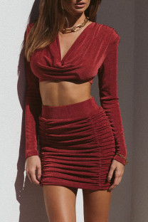 Burgundy Celebrities Solid Split Joint Fold V Neck Long Sleeve Two Pieces