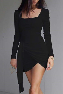 Black Celebrities Solid Bandage Split Joint Asymmetrical U Neck Pencil Skirt Dresses