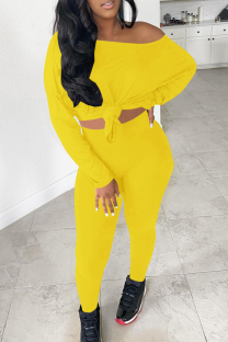Yellow Sexy Solid Split Joint One Shoulder Long Sleeve Two Pieces