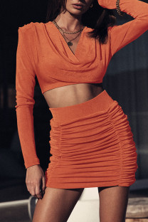 Tangerine Celebrities Solid Split Joint Fold V Neck Long Sleeve Two Pieces