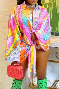 Pink Fashion Casual Print Bandage Split Joint Turndown Collar Plus Size Tops