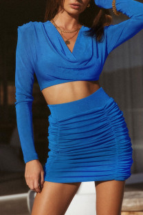 Blue Celebrities Solid Split Joint Fold V Neck Long Sleeve Two Pieces