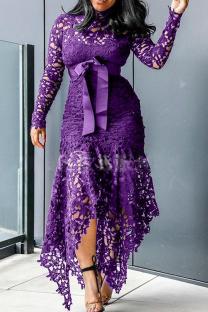 Purple Sexy Solid Lace O Neck Irregular Dress Dresses