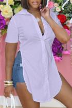 Light Purple Fashion Casual Solid Slit Turndown Collar Tops