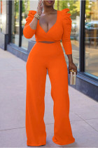 Orange Fashion Casual Solid Bandage Split Joint V Neck Long Sleeve Two Pieces
