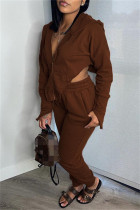 Dark Brown Fashion Casual Solid Asymmetrical Hooded Collar Long Sleeve Two Pieces
