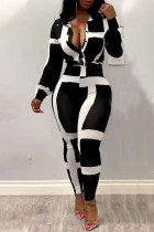 Black Casual Striped Print Split Joint Buckle Turndown Collar Long Sleeve Two Pieces