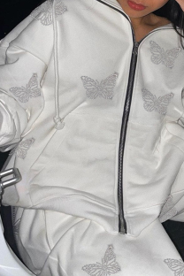 White Casual Butterfly Print Split Joint Hooded Collar Outerwear